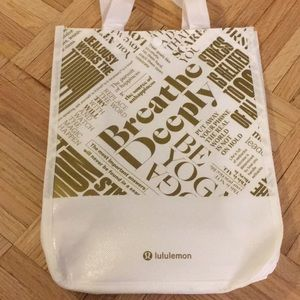 LARGE REUSABLE GOLD LULULEMON TOTE